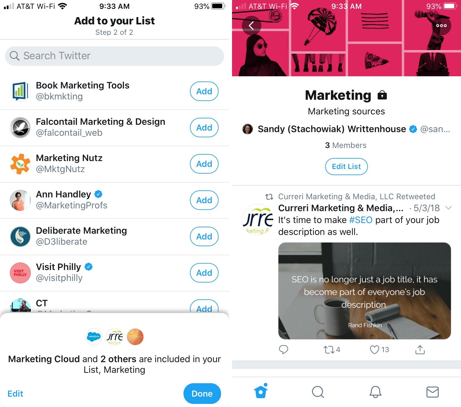 Add Members Twitter List on iPhone