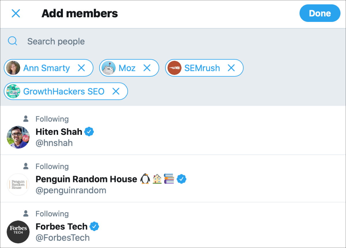 Add Members Twitter List on the web
