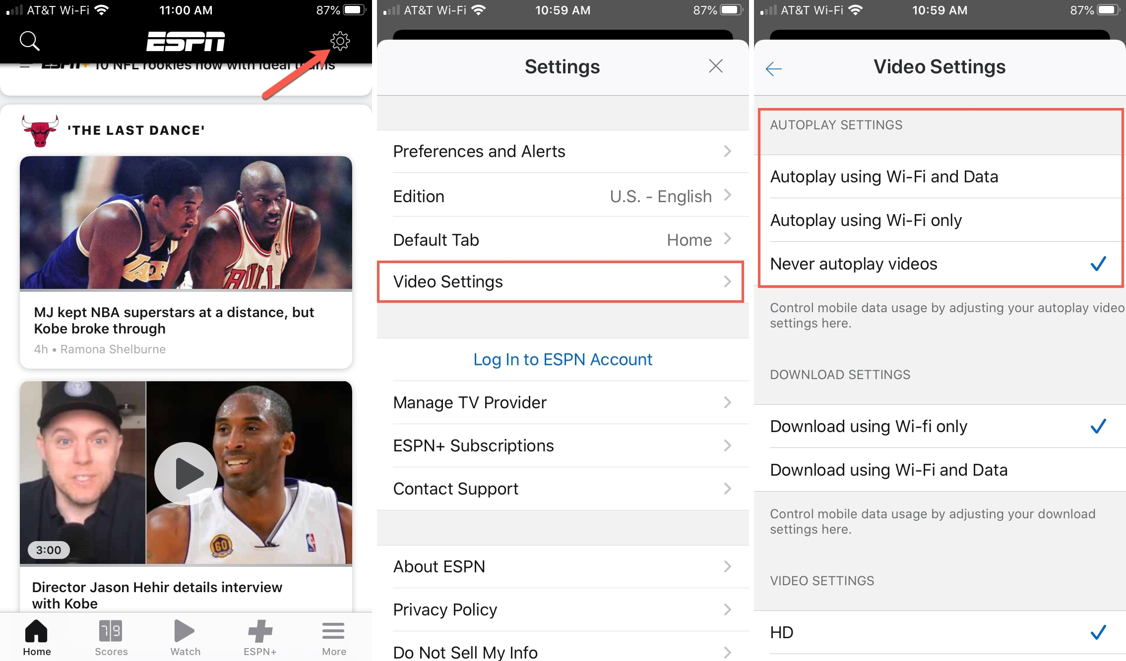 ESPN Video Settings Autoplay Never iPhone