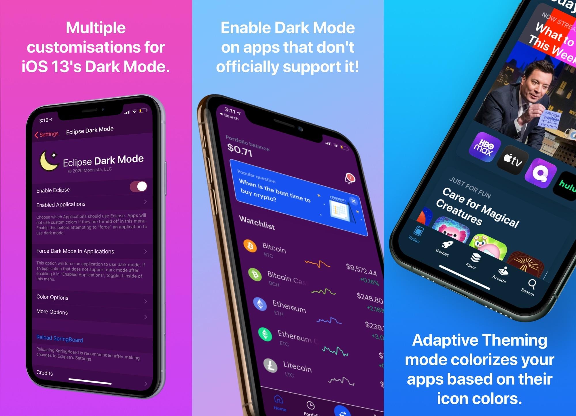 Eclipse iOS 13: lle tuo edistykselliset mukautukset pimeään iOS 13 -tilaan