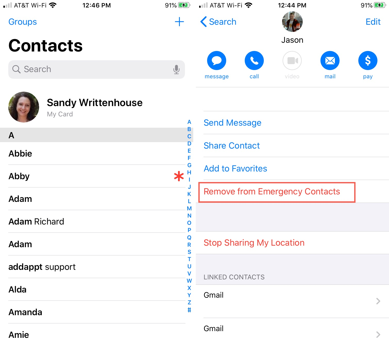 Emergency Contacts Asterisk Remove iPhone