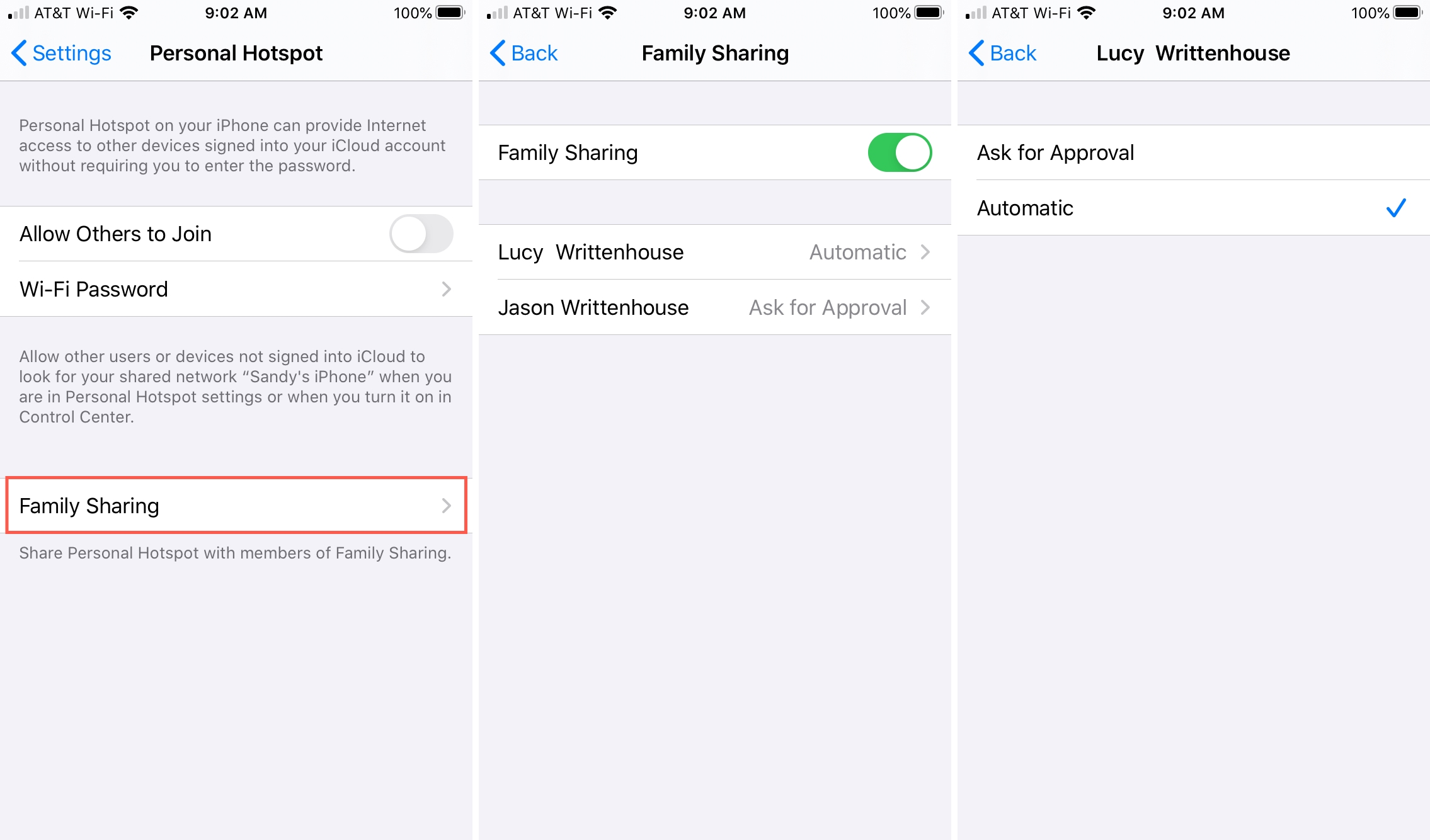 Enable Family Sharing Hotspot iPhone