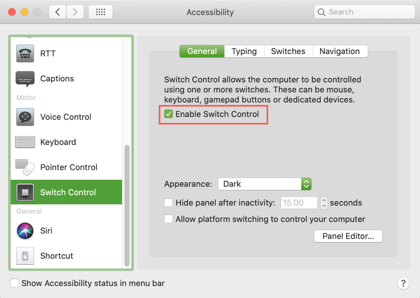 Enable Switch Control Mac