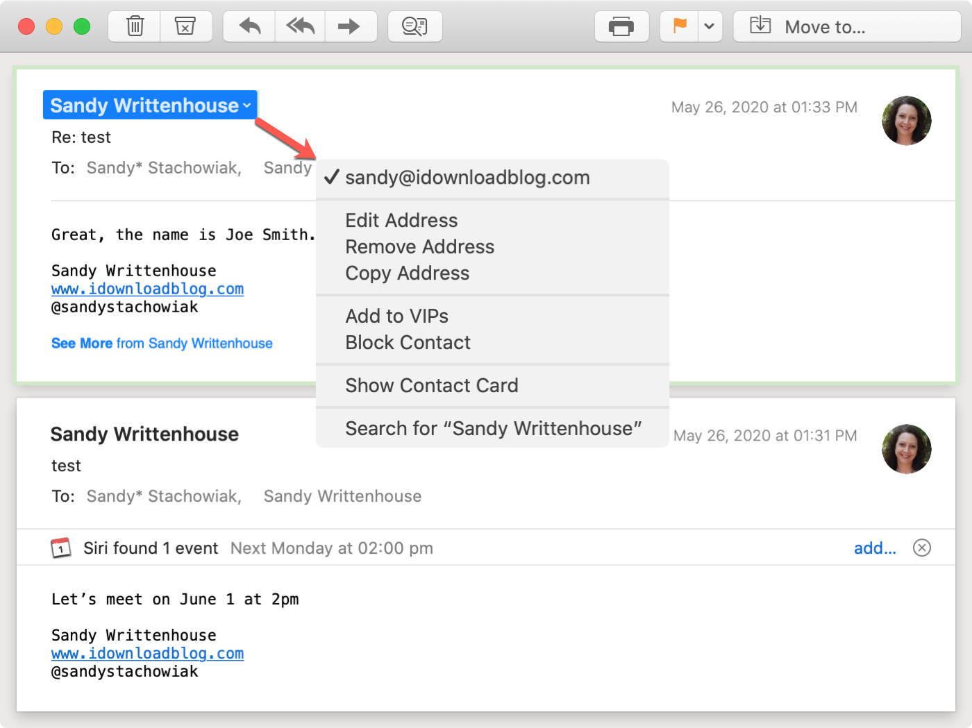 Expand Mail Smart Address Received