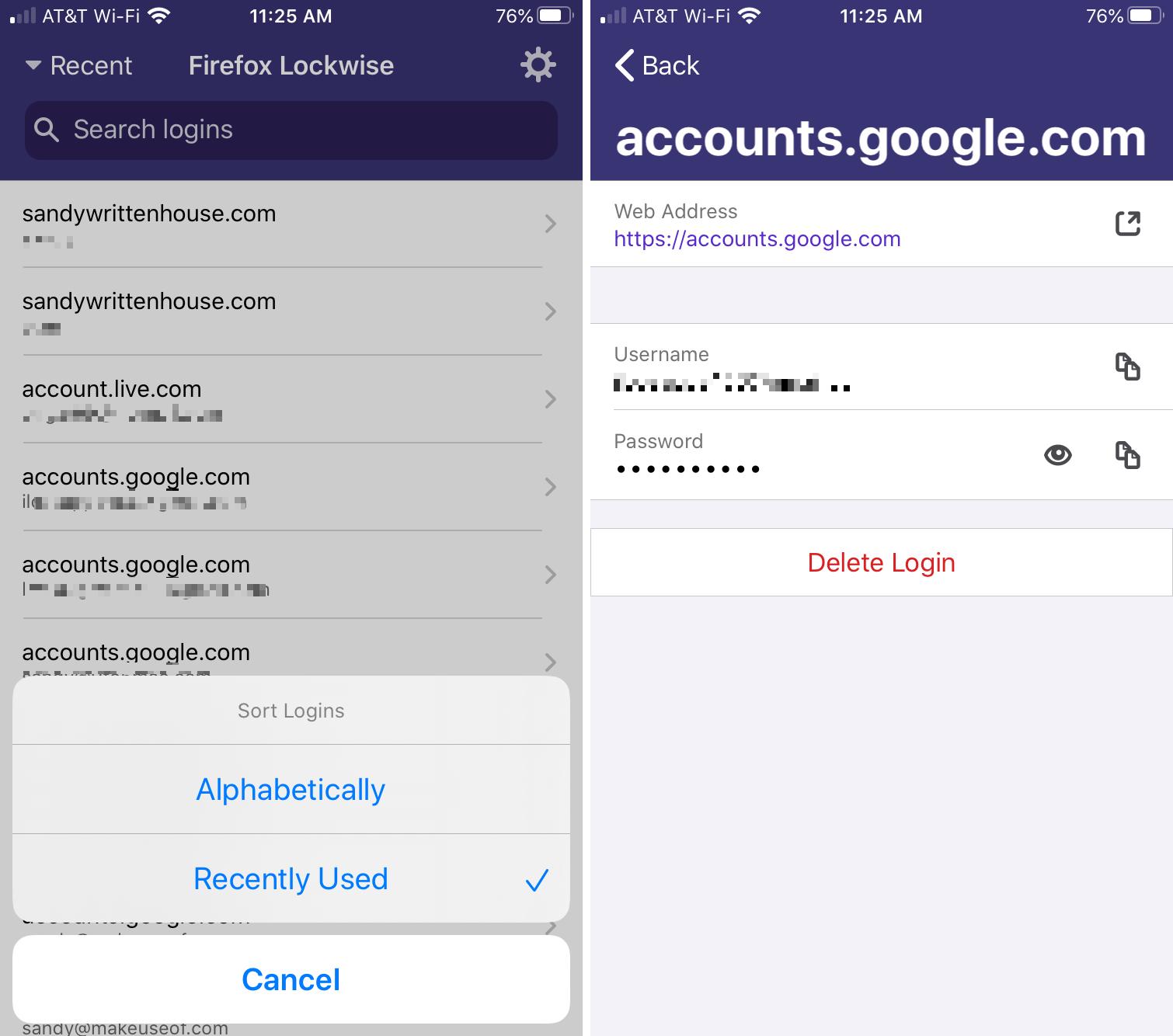 Firefox Lockwise Accounts iPhone