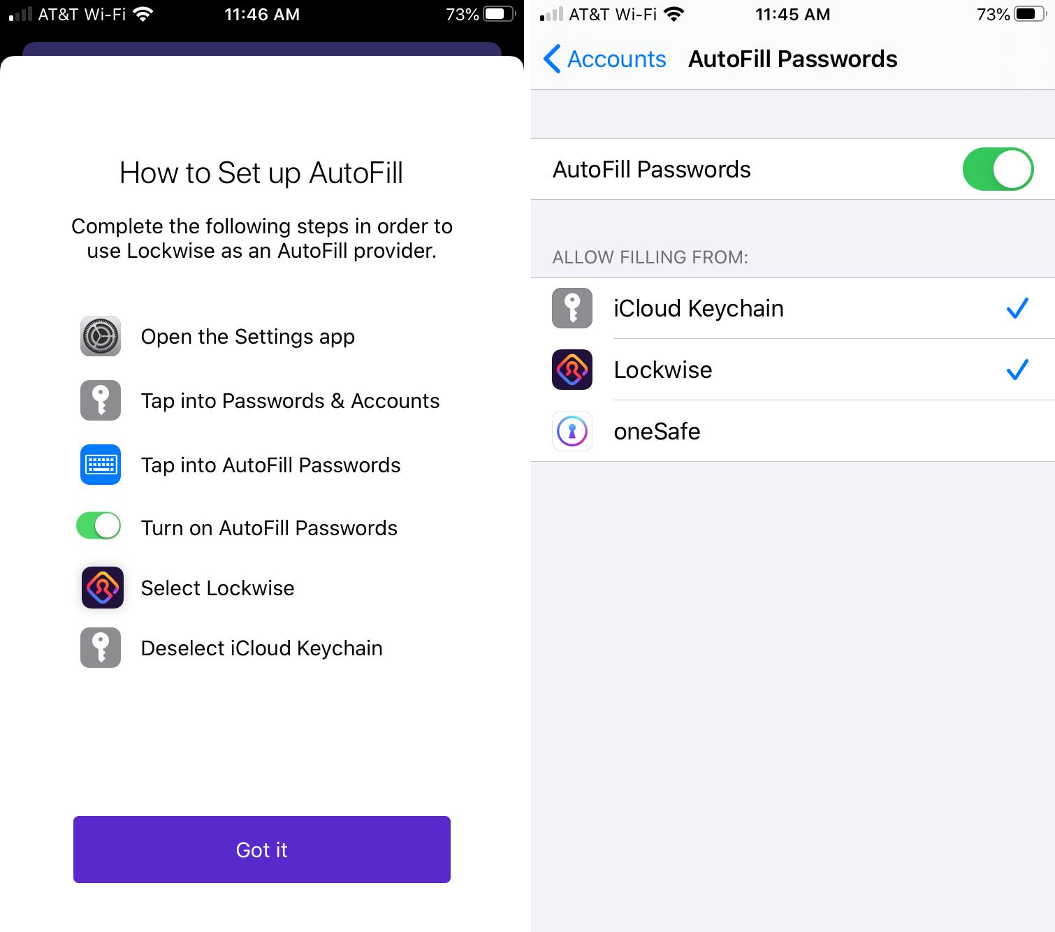 Firefox Lockwise AutoFill iPhone