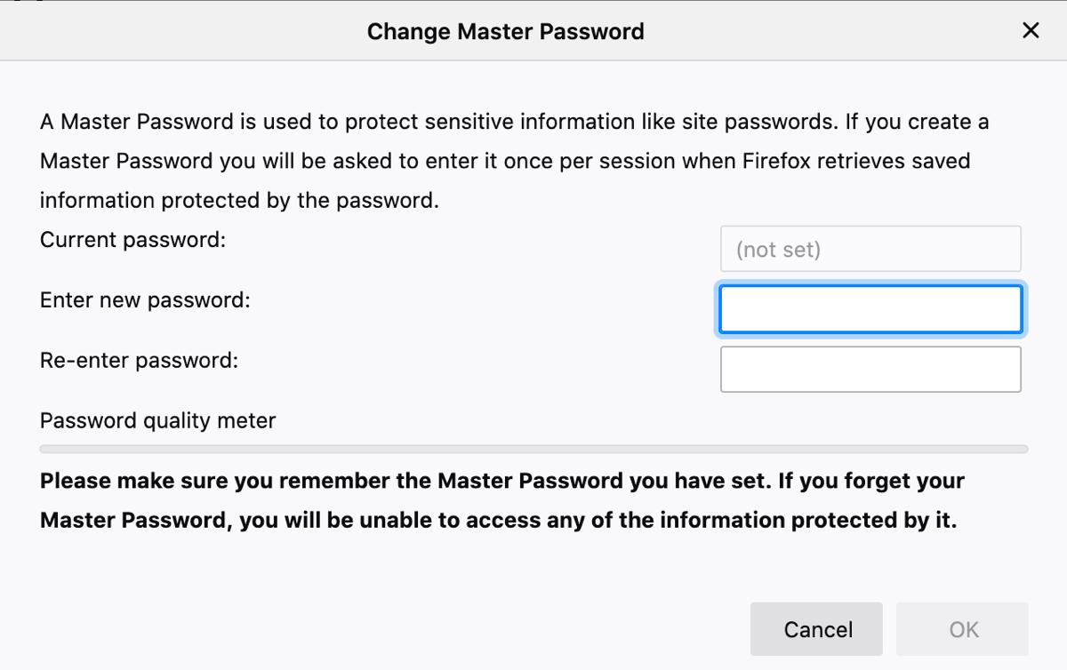 Firefox Use Master Password