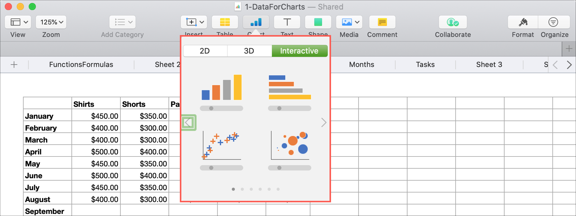 Insert Interactive Chart in Numbers Mac