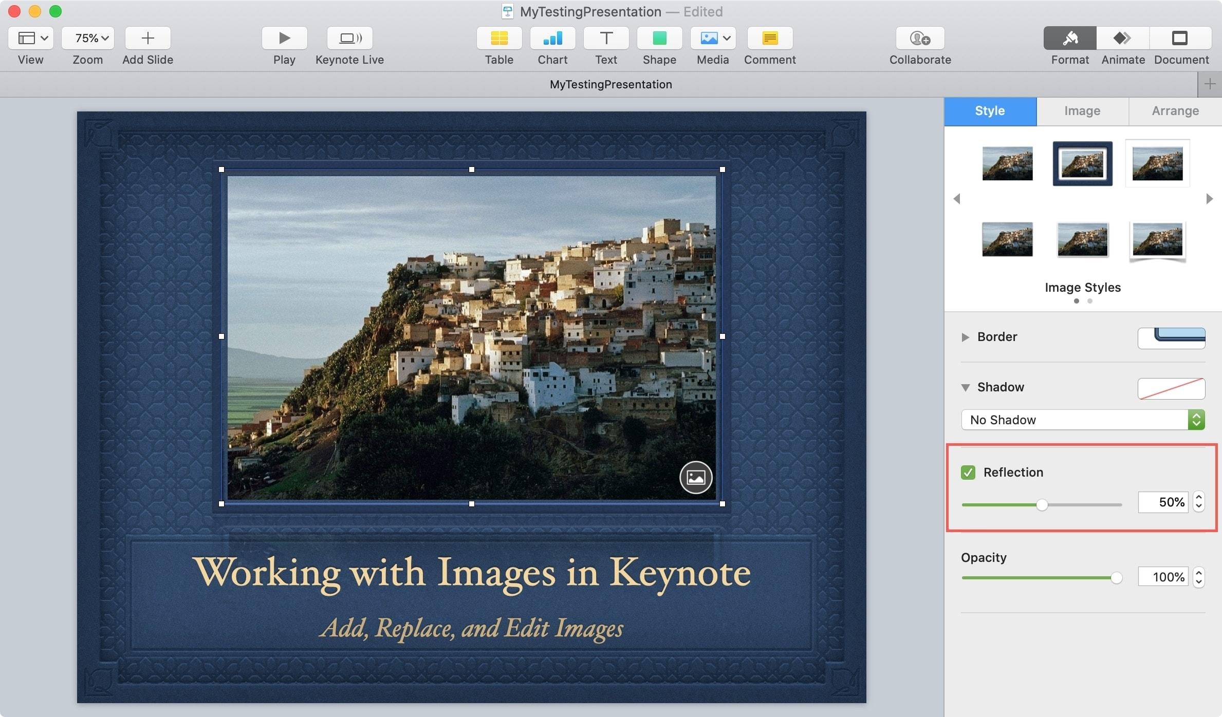 Keynote Object Add Reflection Mac