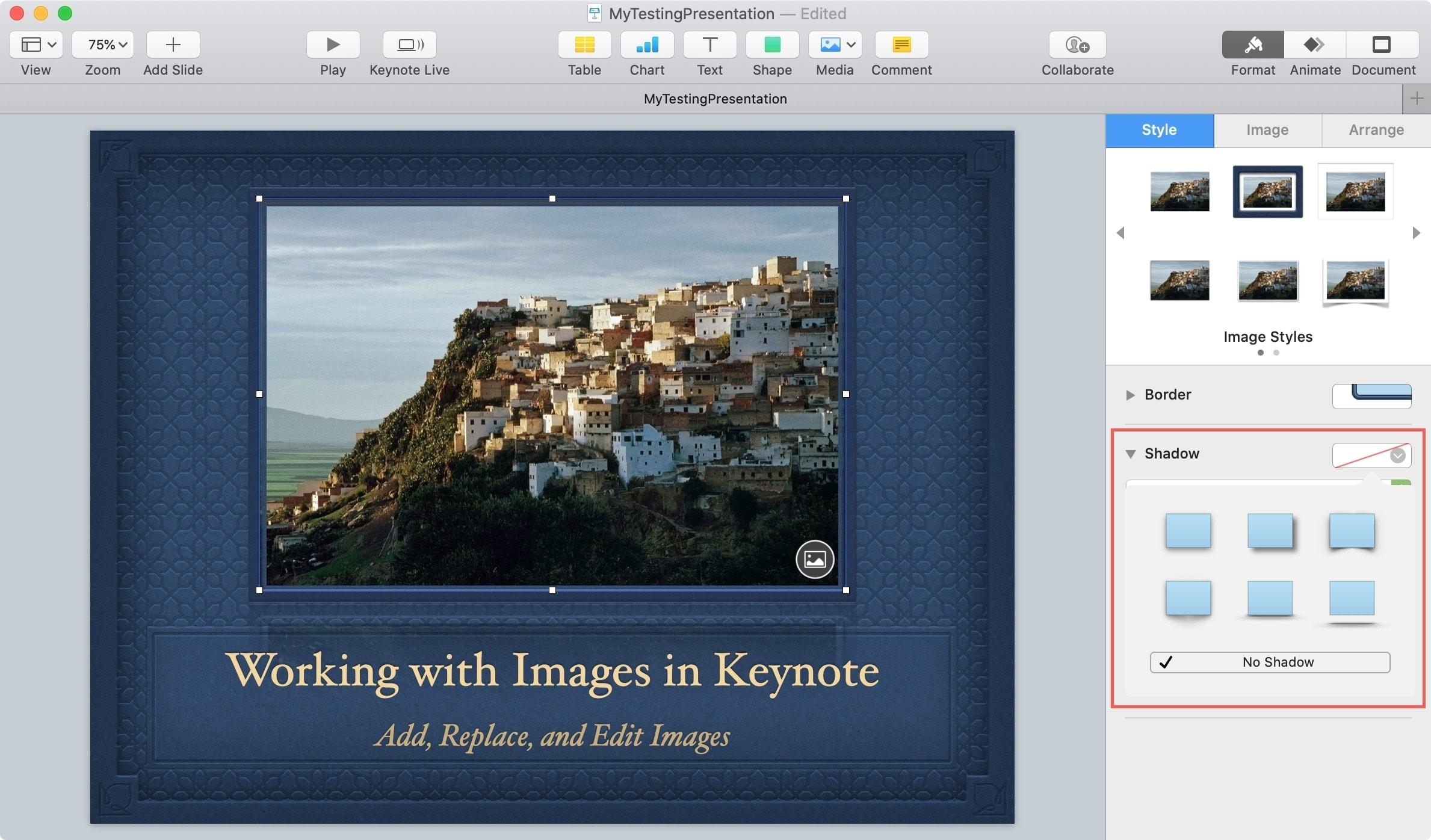 Keynote Object Add Shadow Mac
