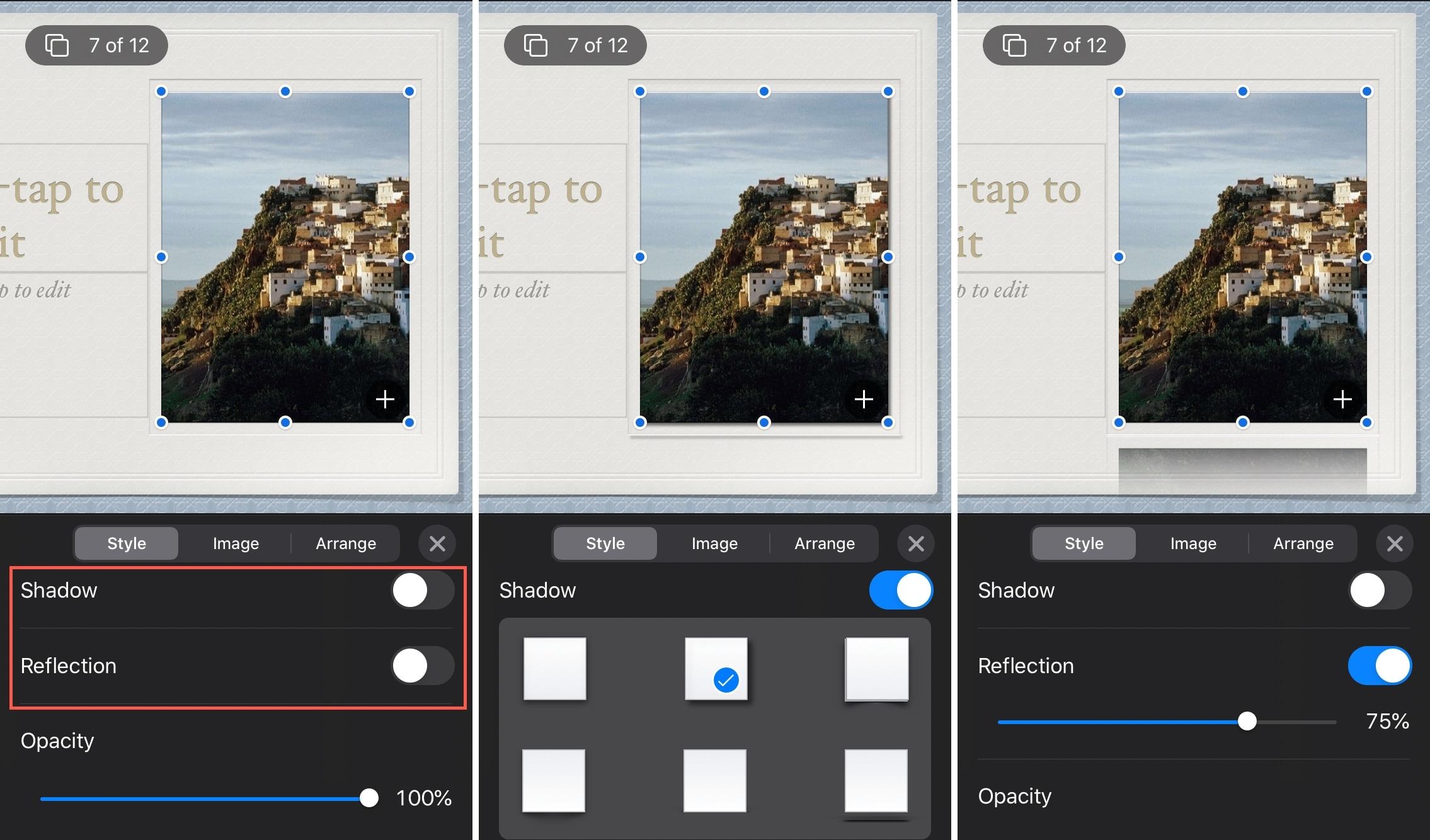 Keynote Object Add Shadow or Reflection iPhone