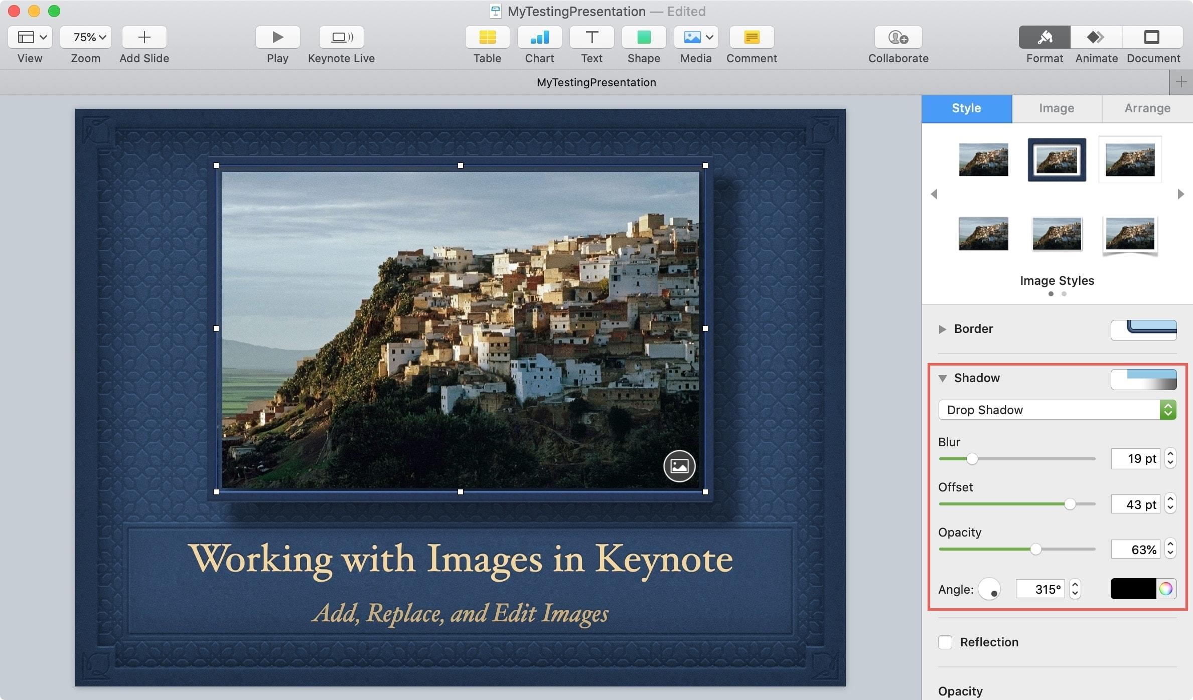 Keynote Object Drop Shadow Mac