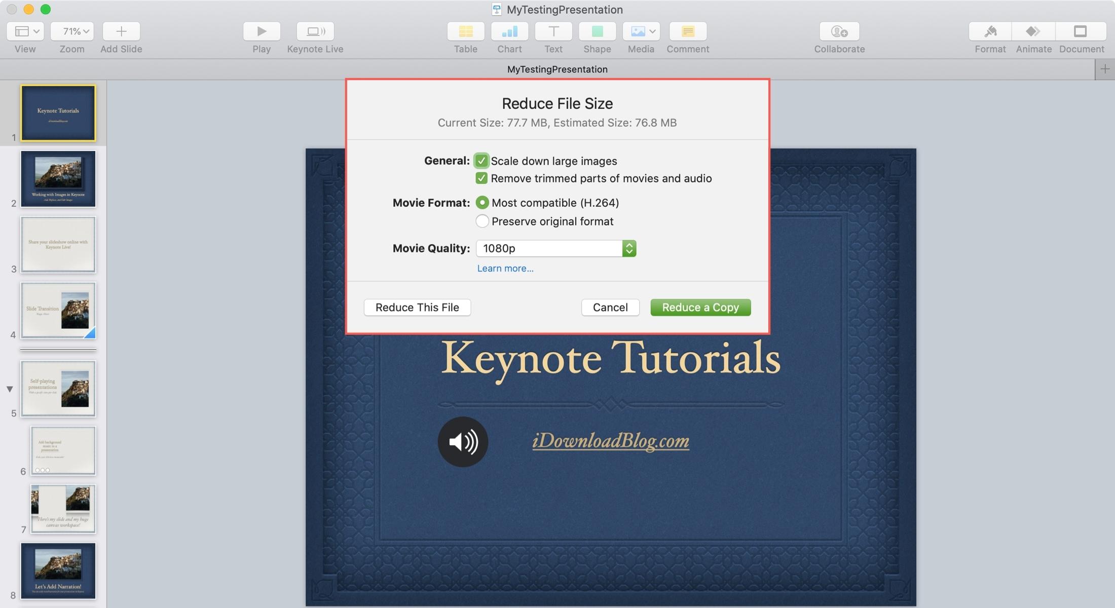 Keynote Reduce File Size Settings Mac