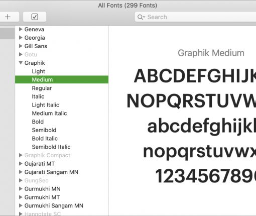 Mac Font Book All Fonts Graphik