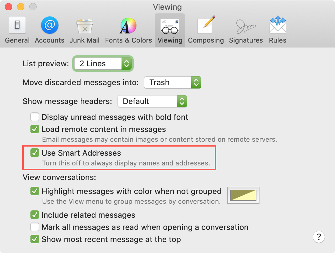 Mac Mail Enable Smart Addresses