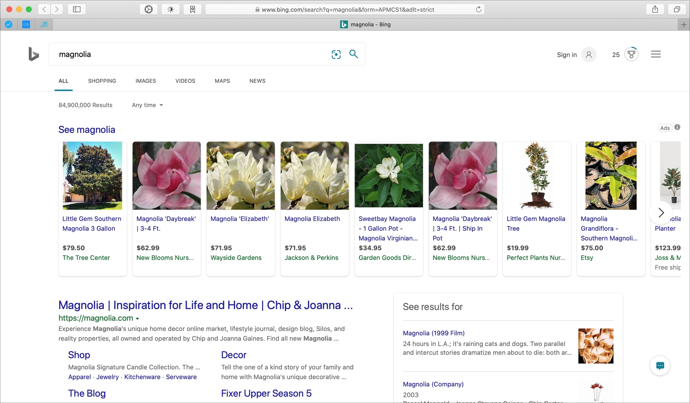 Magnolia search results on Bing