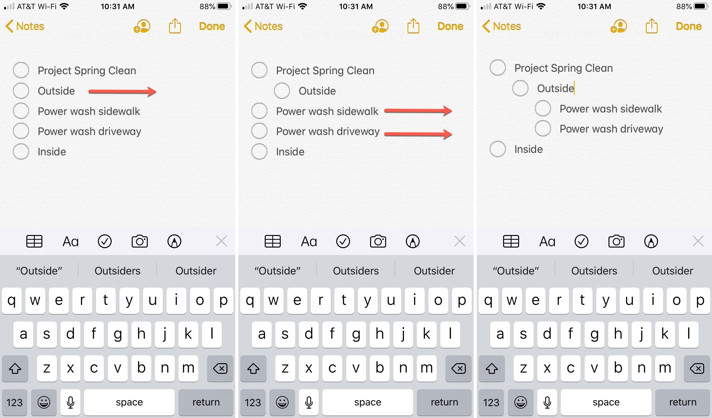 Notes Swipe to Indent iPhone