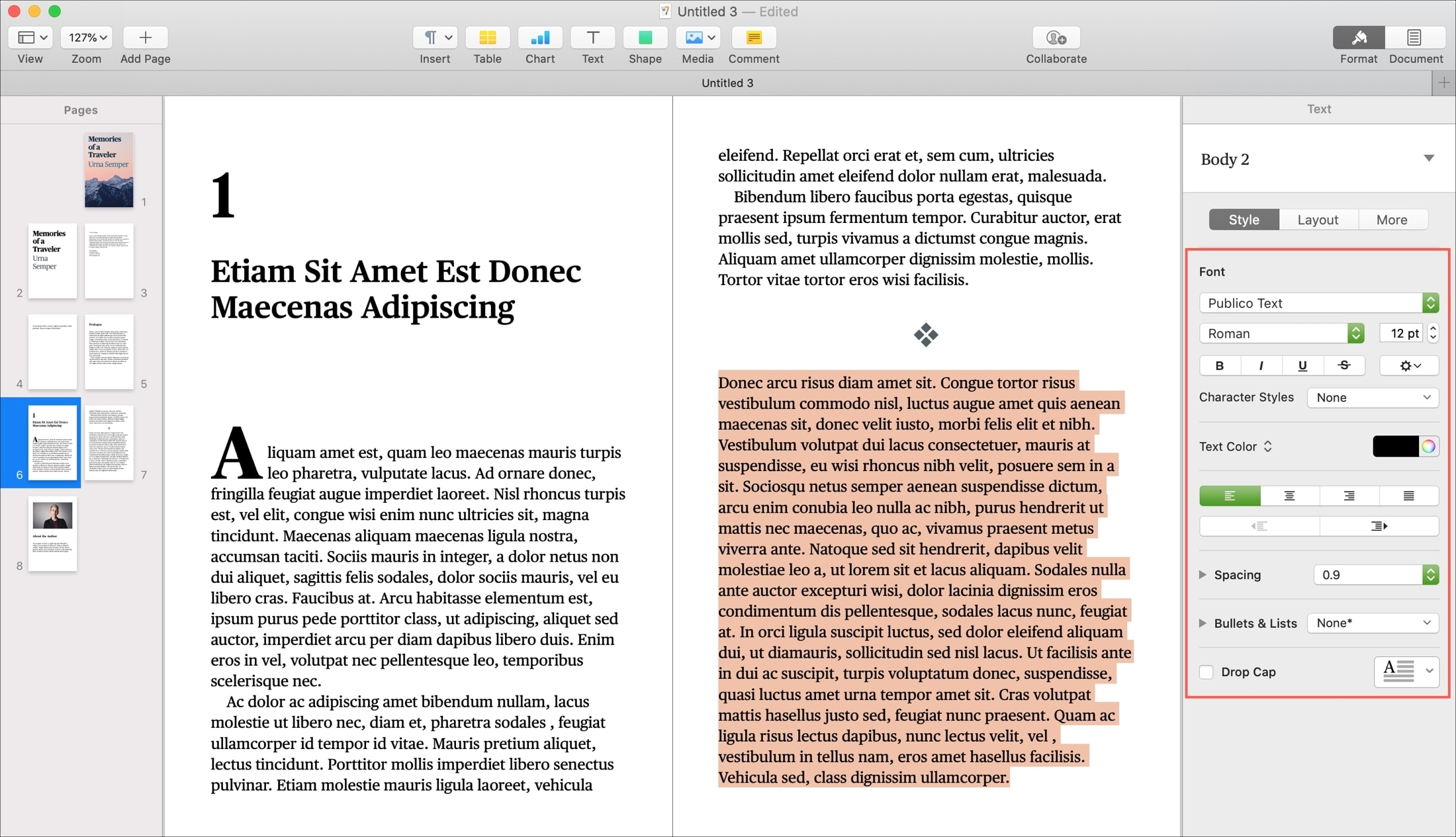 Pages Book Font Formatting on Mac