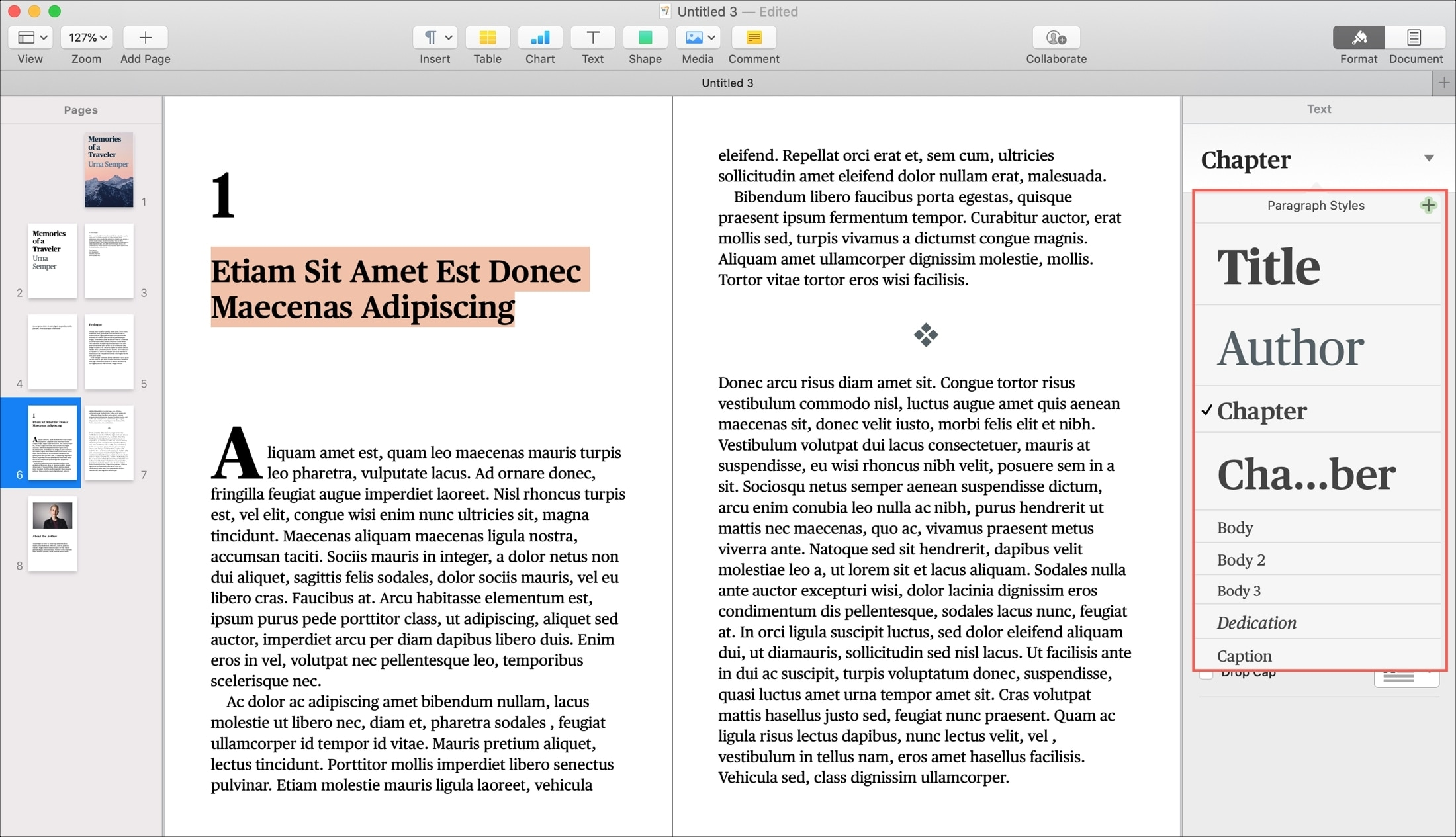 Pages Book Paragraph Styles on Mac
