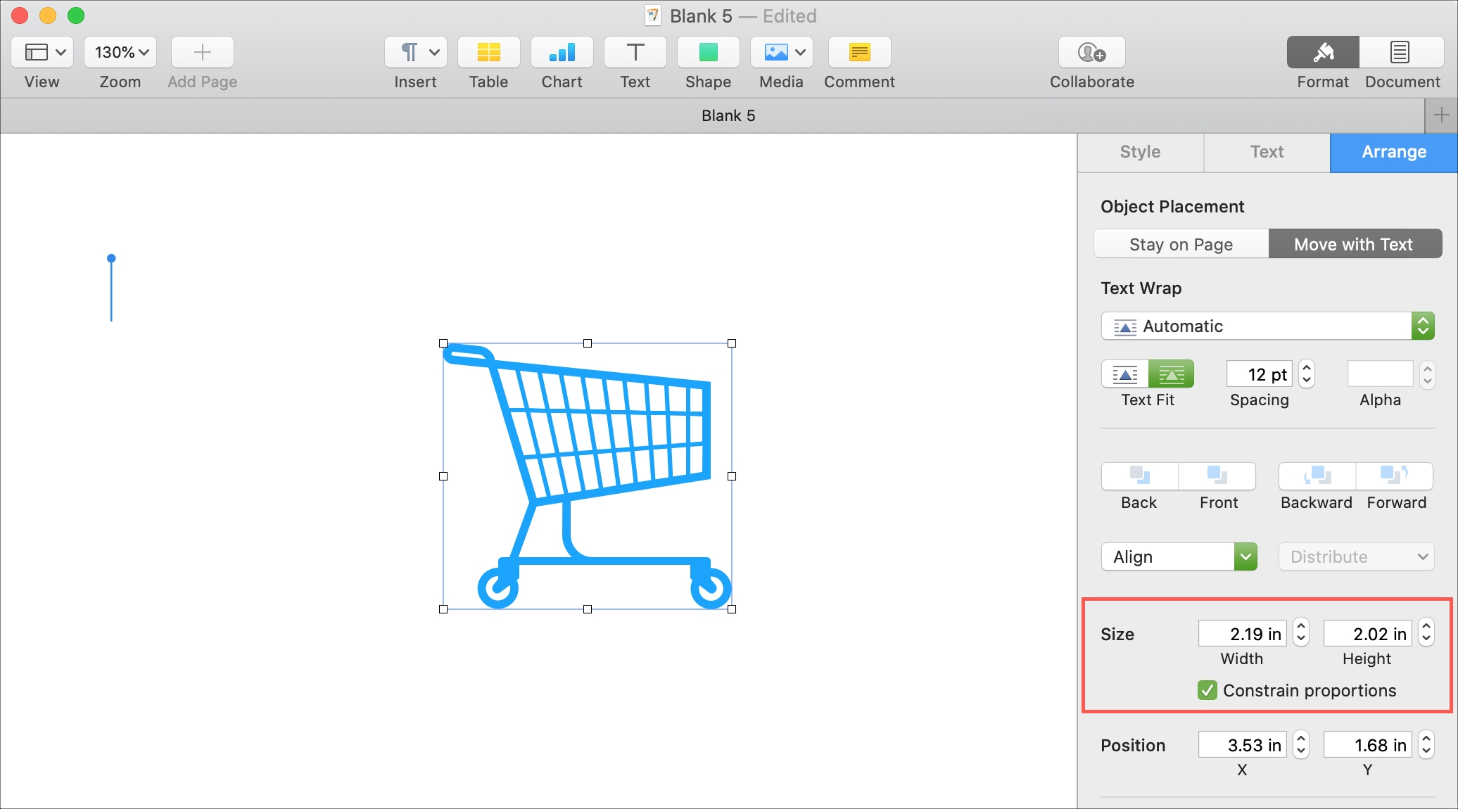 Pages Resize Object Mac