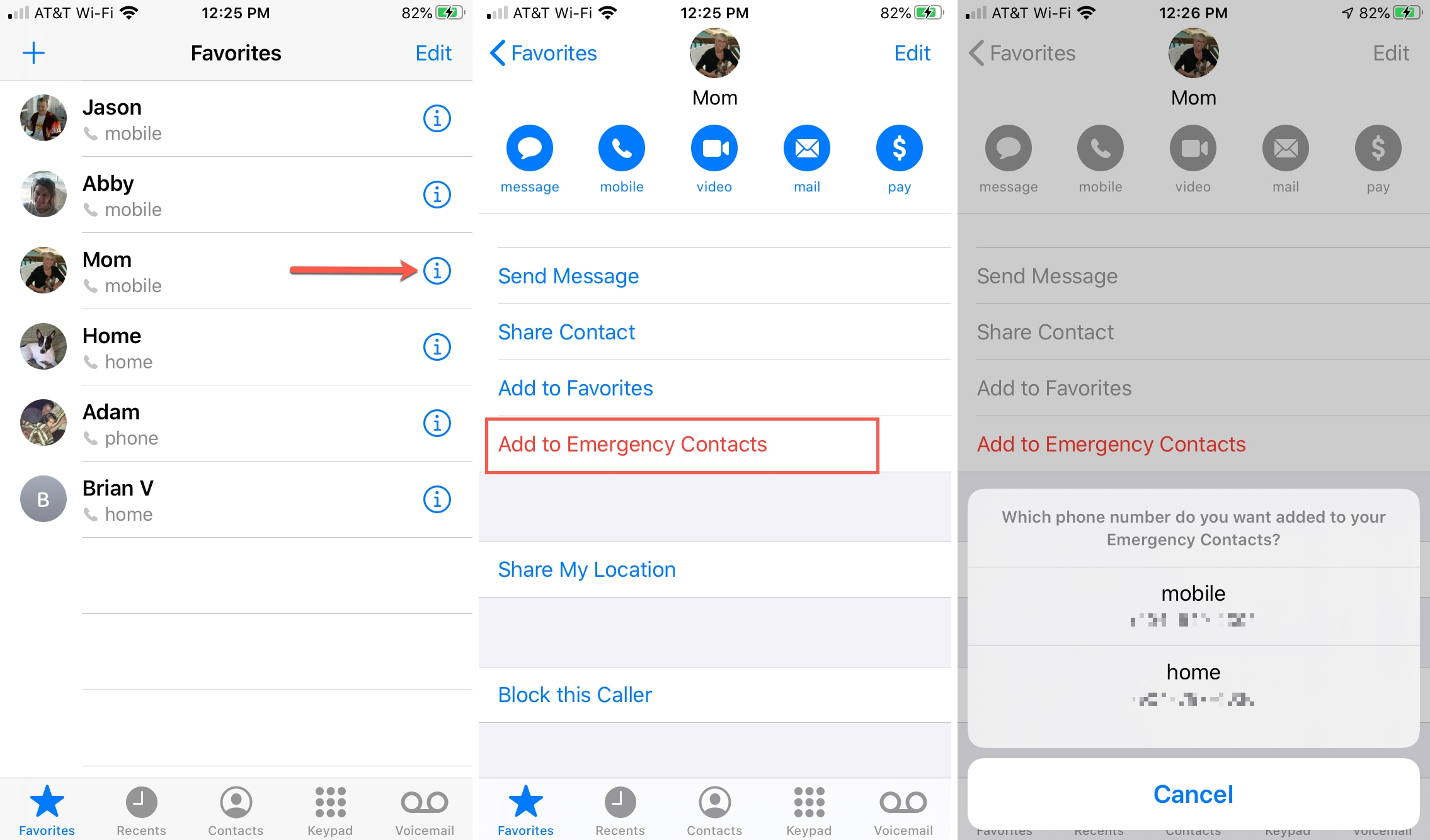 Phone Call Add Emergency Contacts iPhone