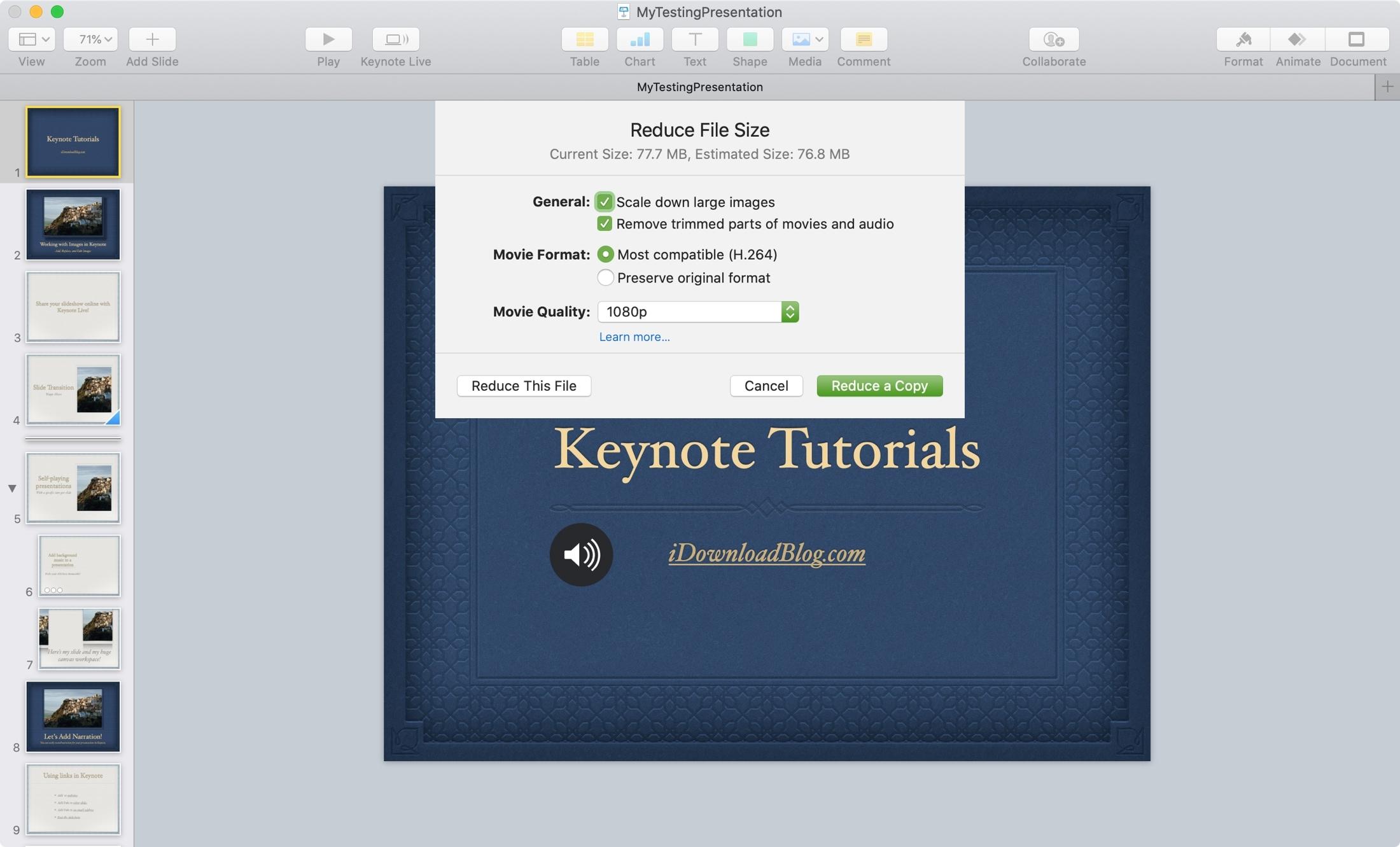 Reduce File Size Settings Keynote Mac