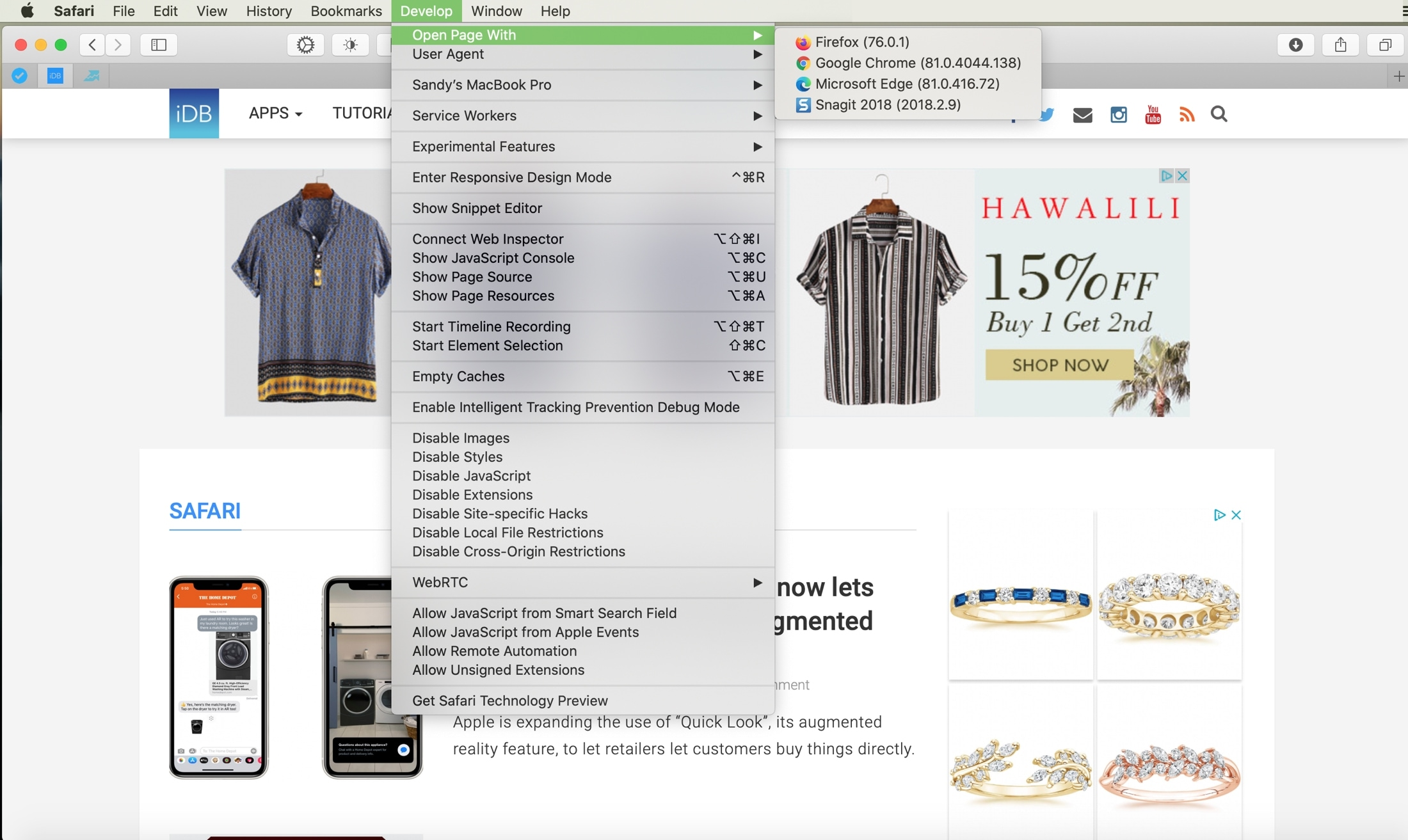 Safari Menu Bar Open Page With