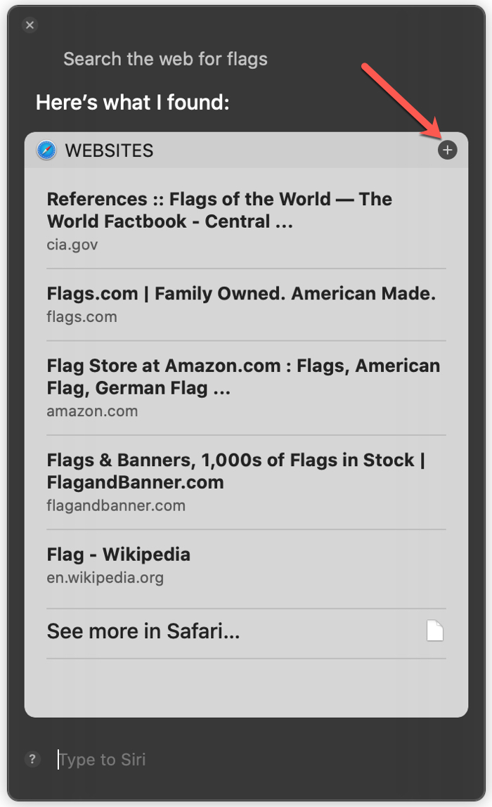Save Siri Search Results on Mac