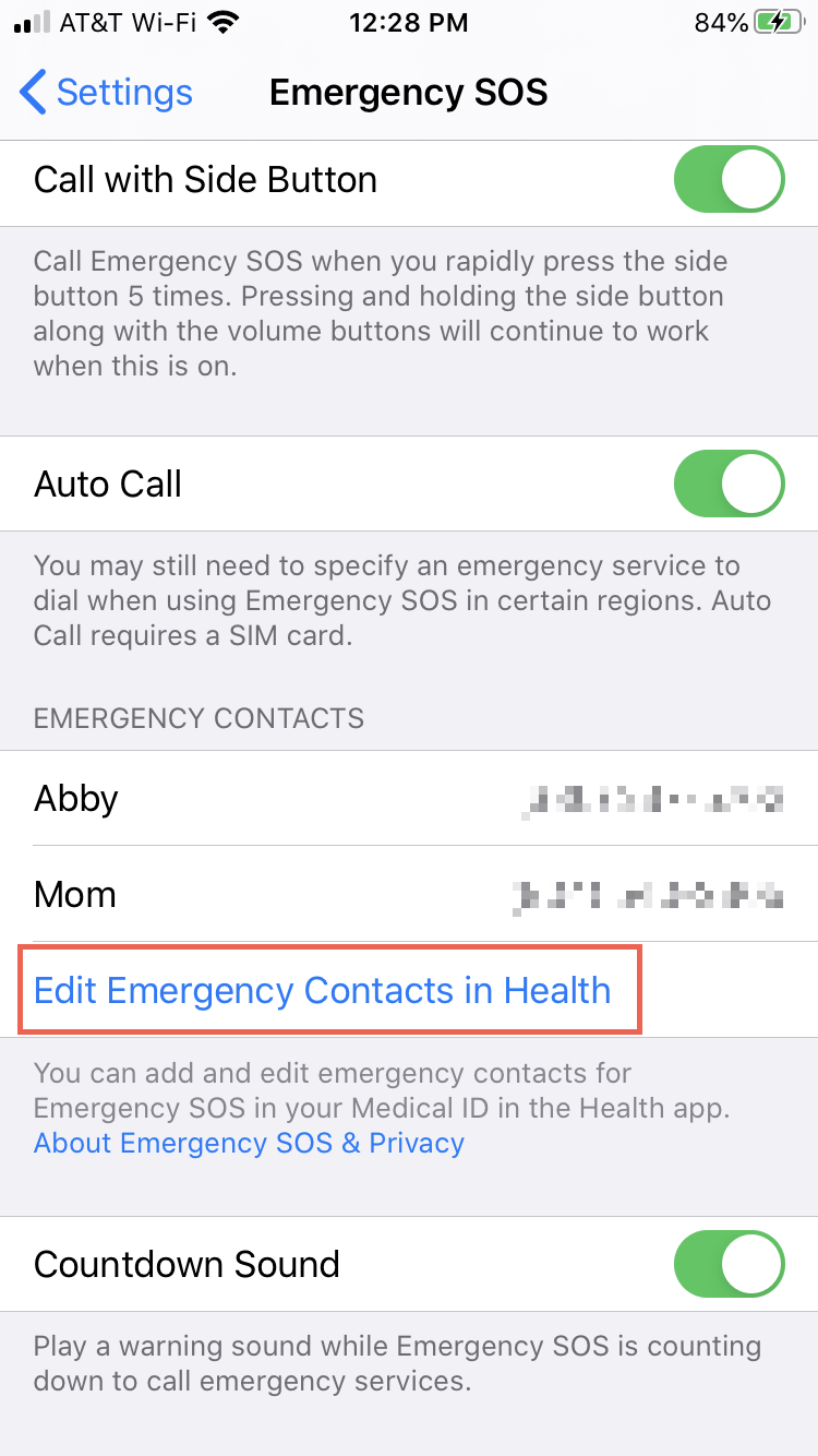 Settings Add Emergency Contacts iPhone