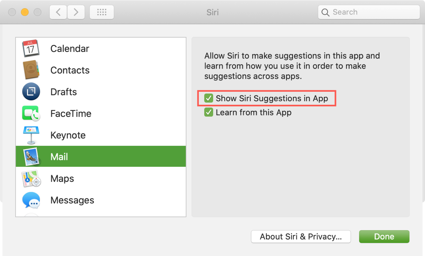 Show Siri Suggestions in App Mac Mail