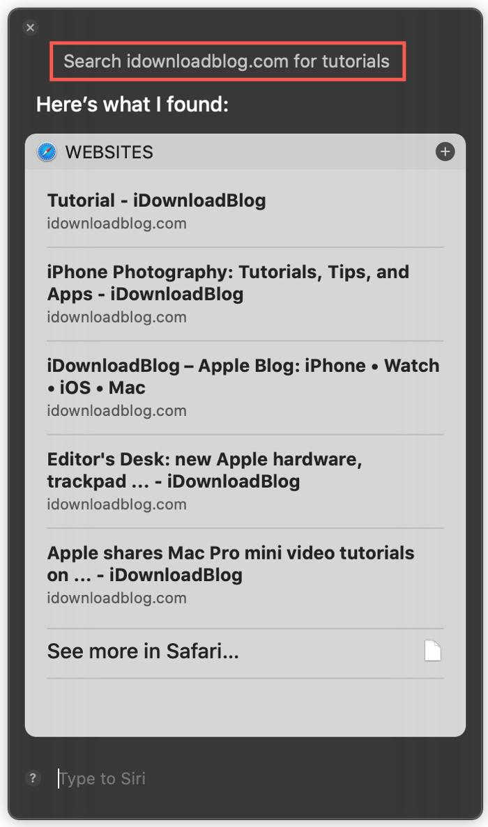 Siri Search iDB for on Mac