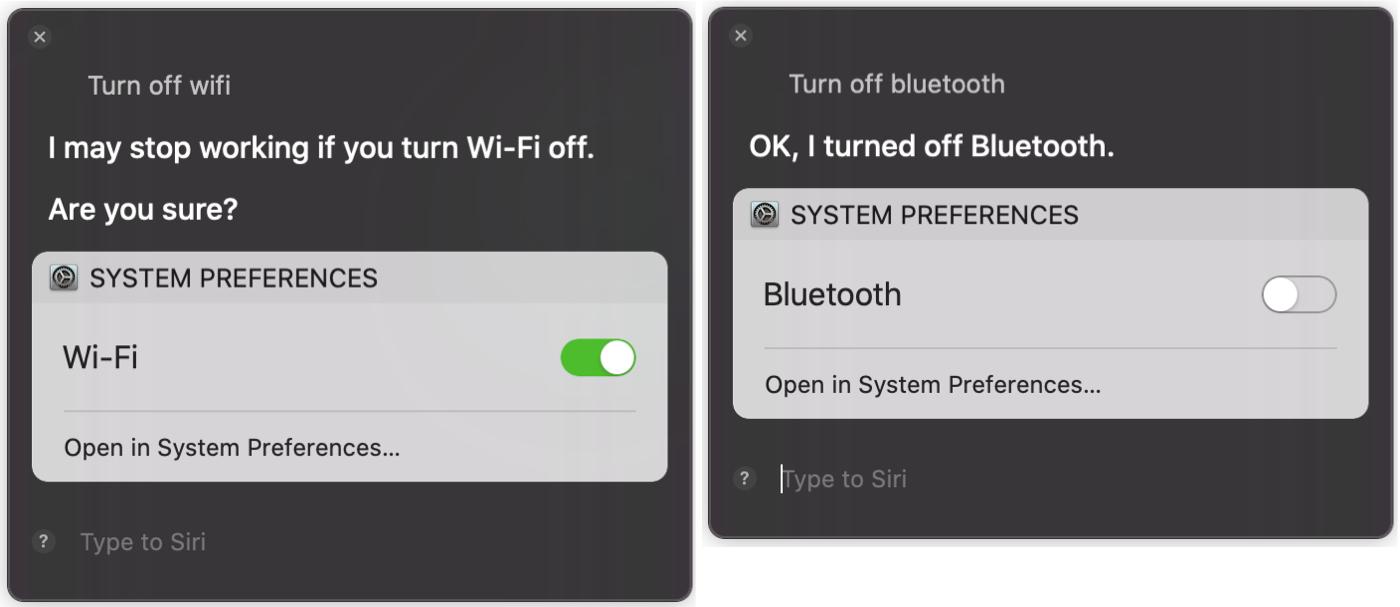 Siri Turn Off WiFi Bluetooth Mac