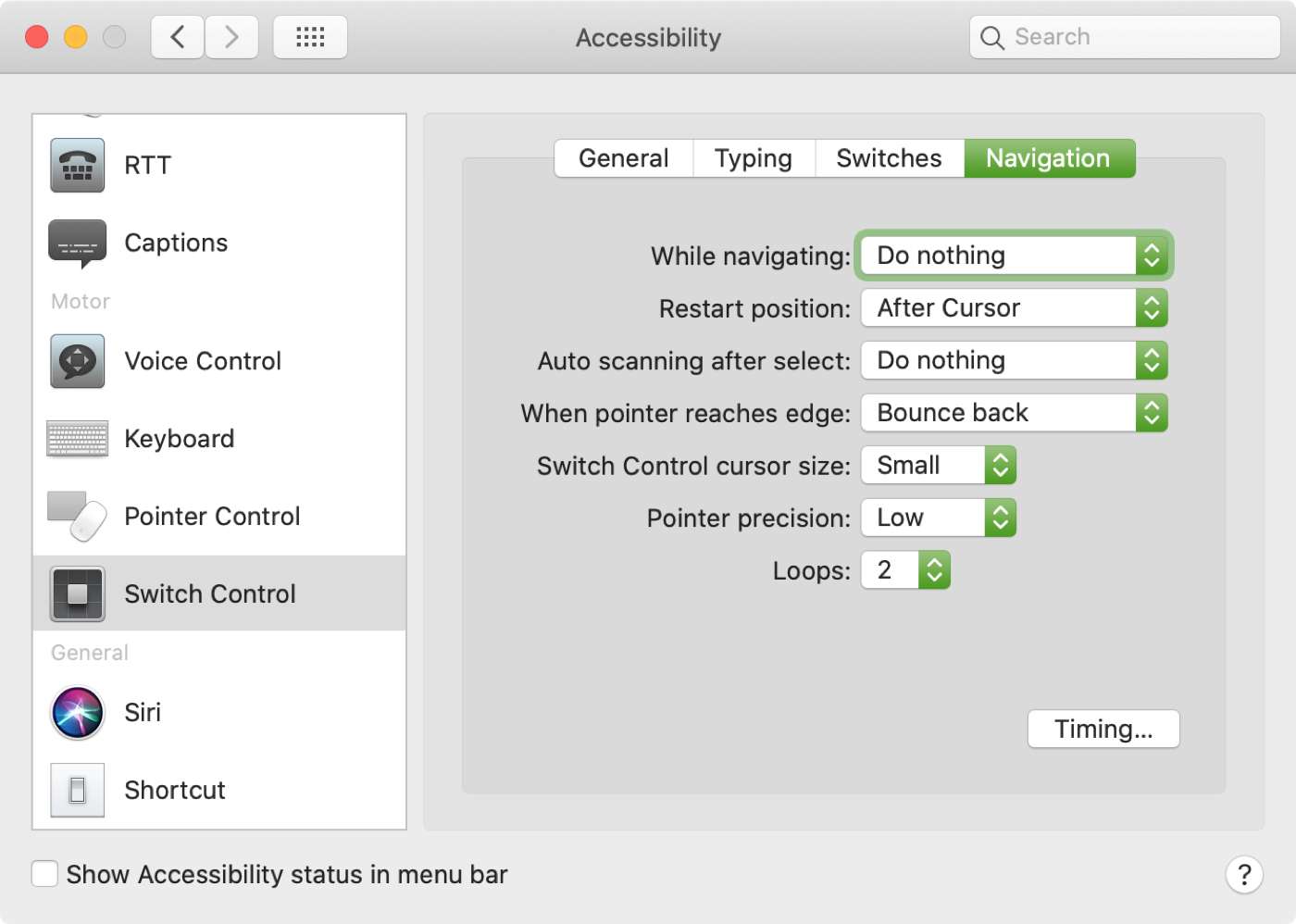 Switch Control Navigation Mac