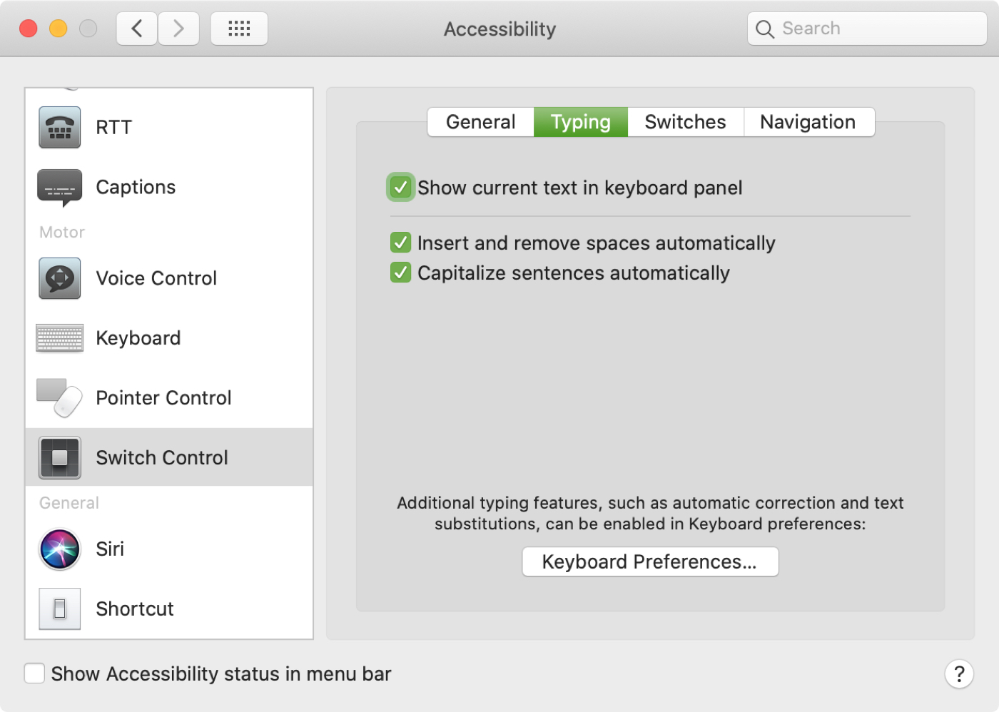 Switch Control Typing Mac