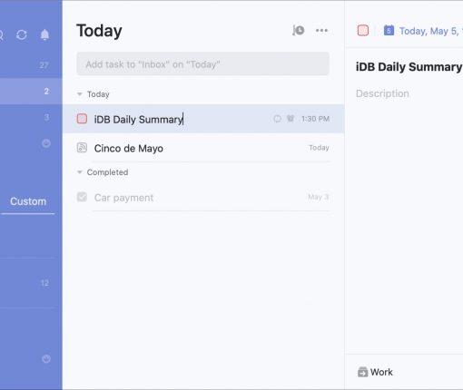 Mac task list apps - TickTick Blue