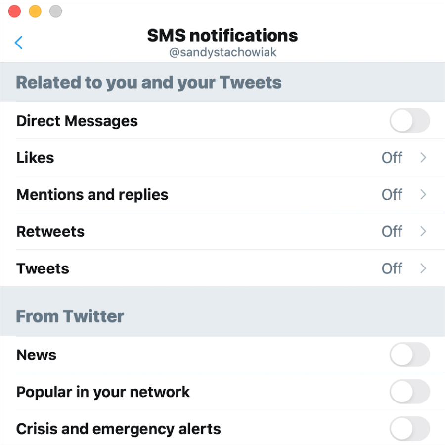 Twitter SMS Notifications Mac