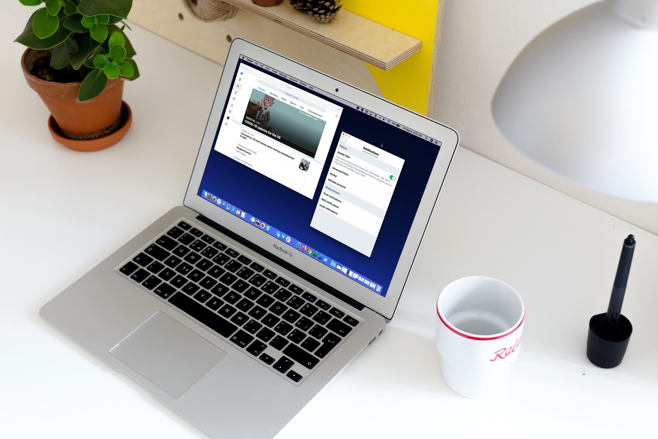 Twitter app and Notifications MacBook
