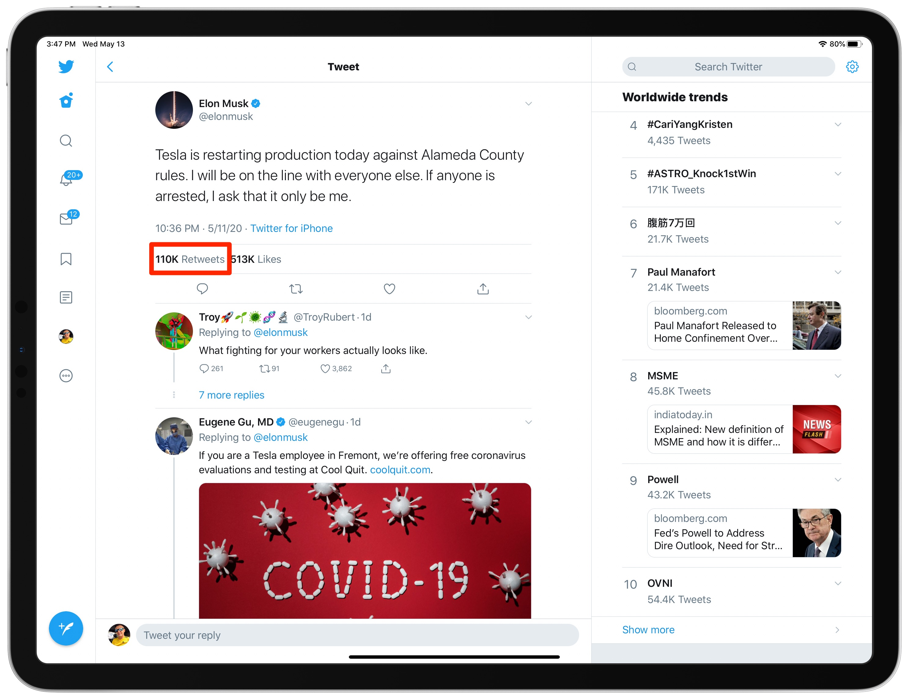 ver retweets con comentarios iPad app