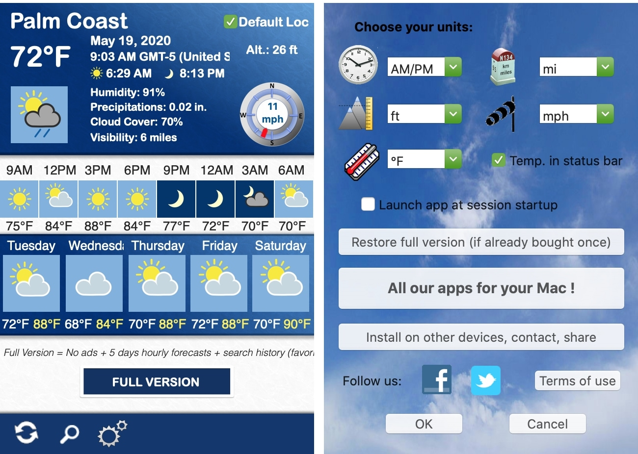 Weather 5 Days app on Mac