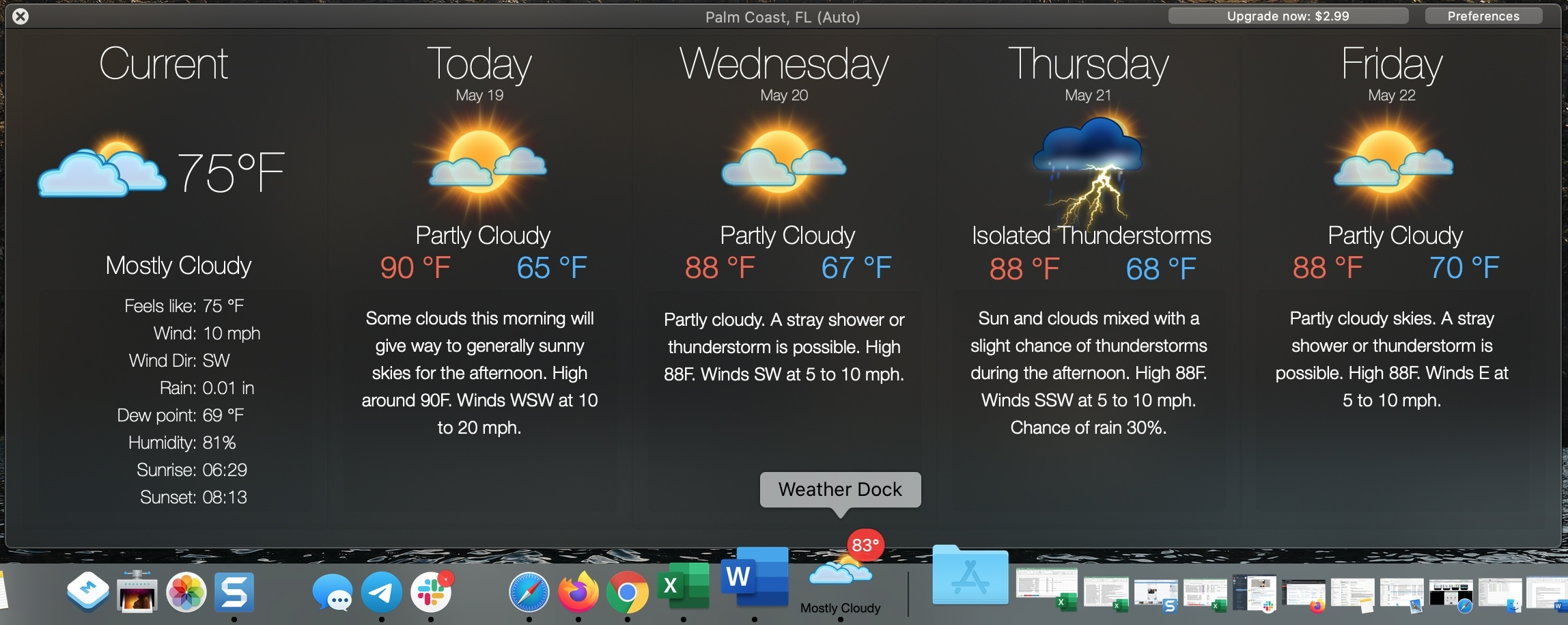 Weather Dock app on Mac