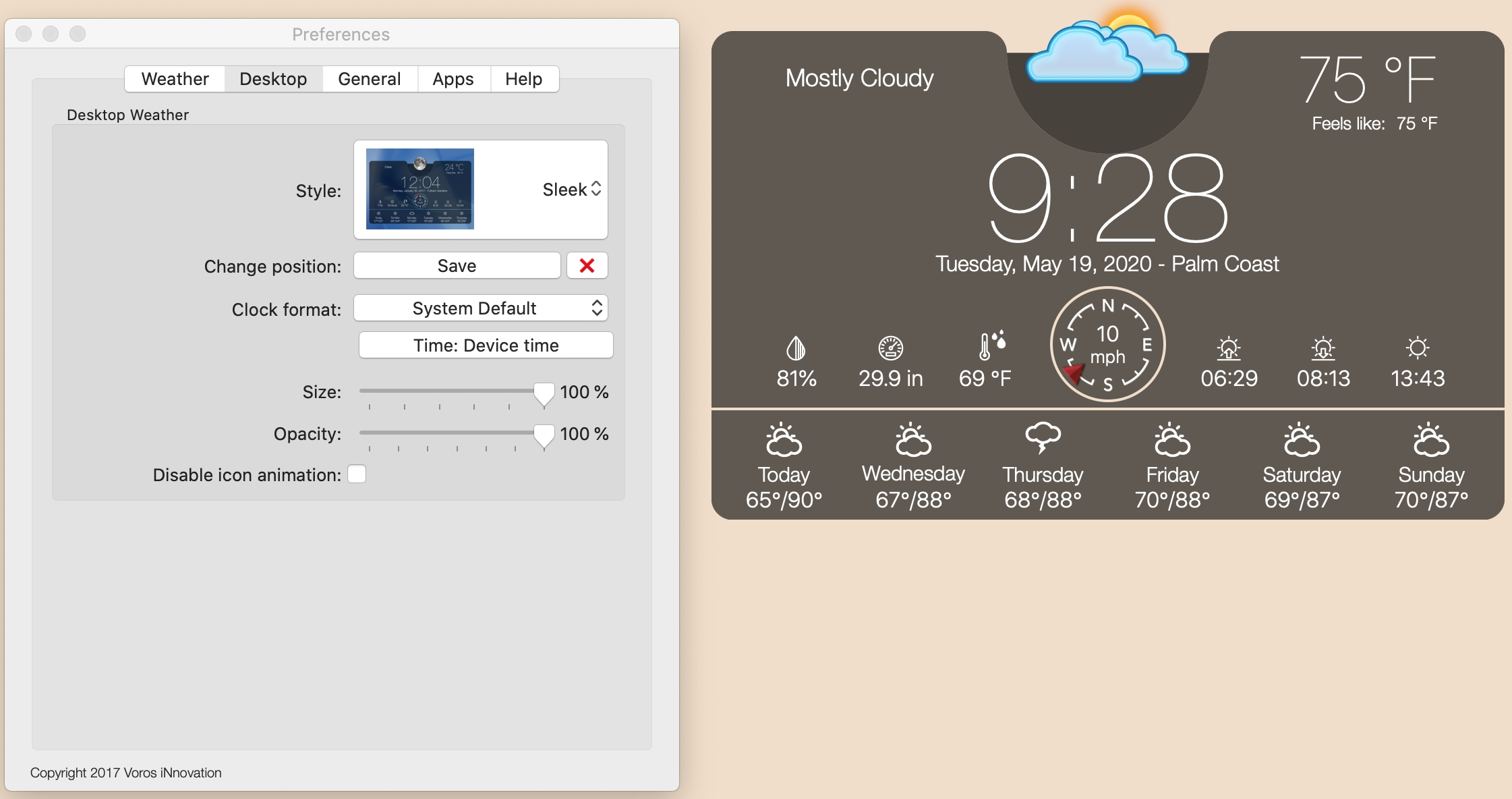 Weather Widget Desktop app on Mac