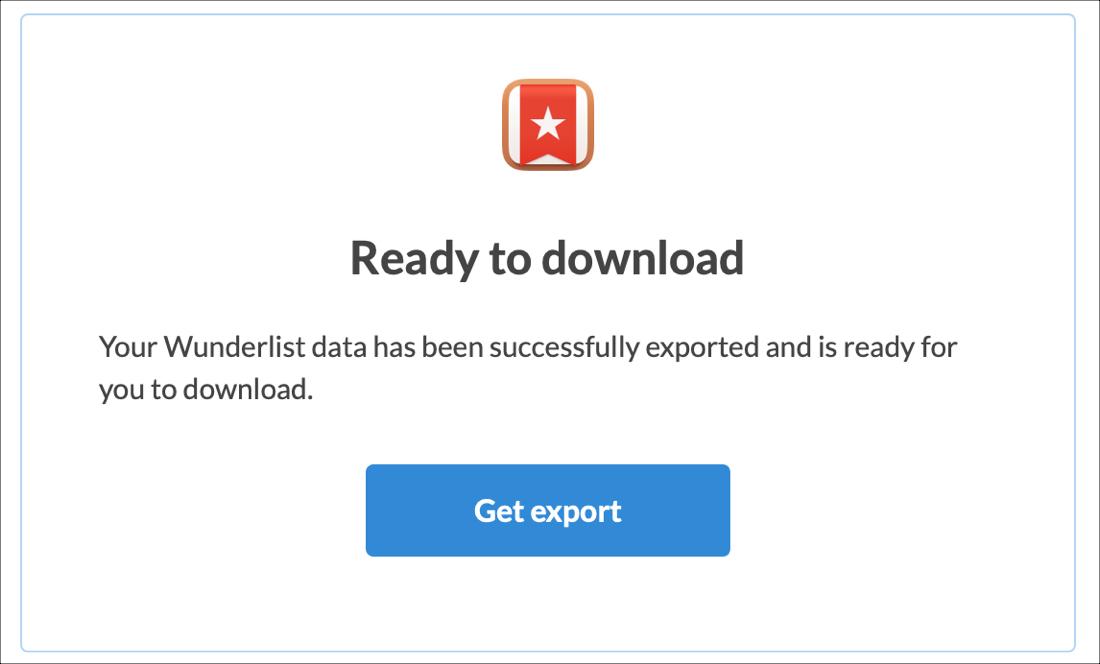 Wunderlist Obtenga correo electrónico de exportación
