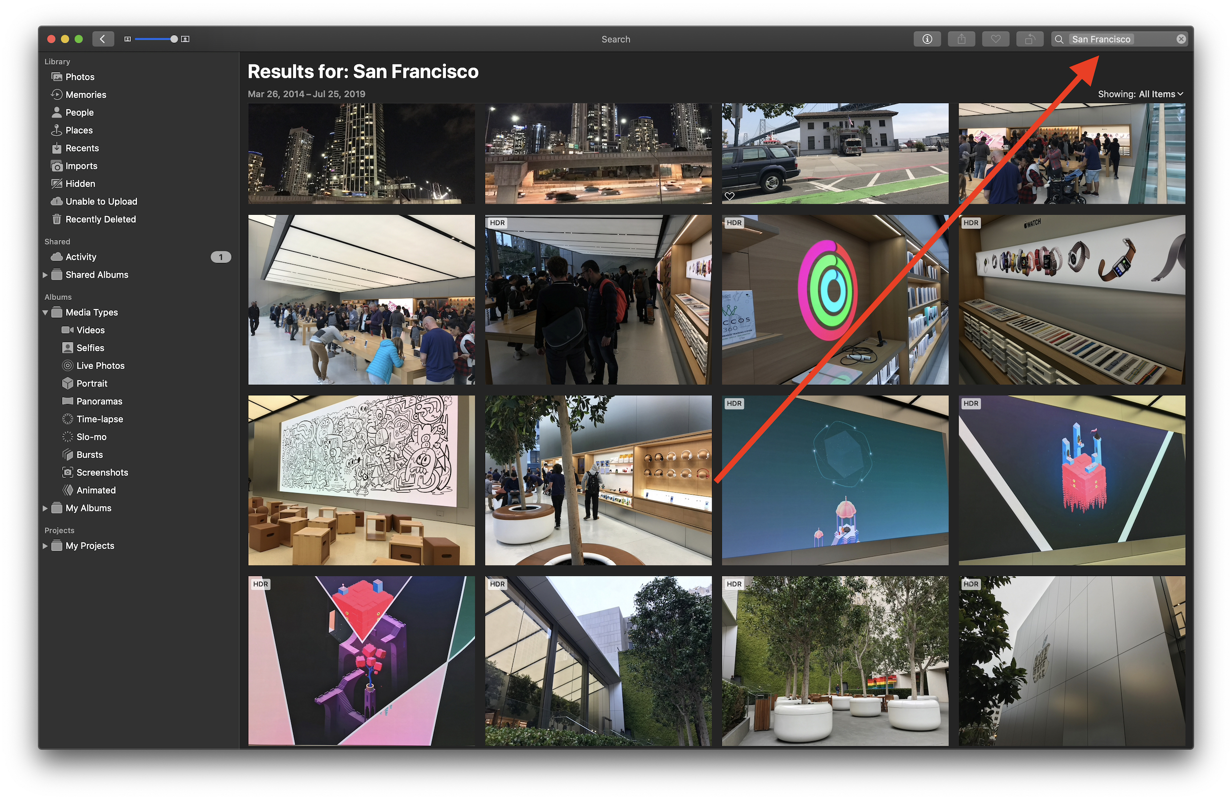 iCloud Photos location search arrow