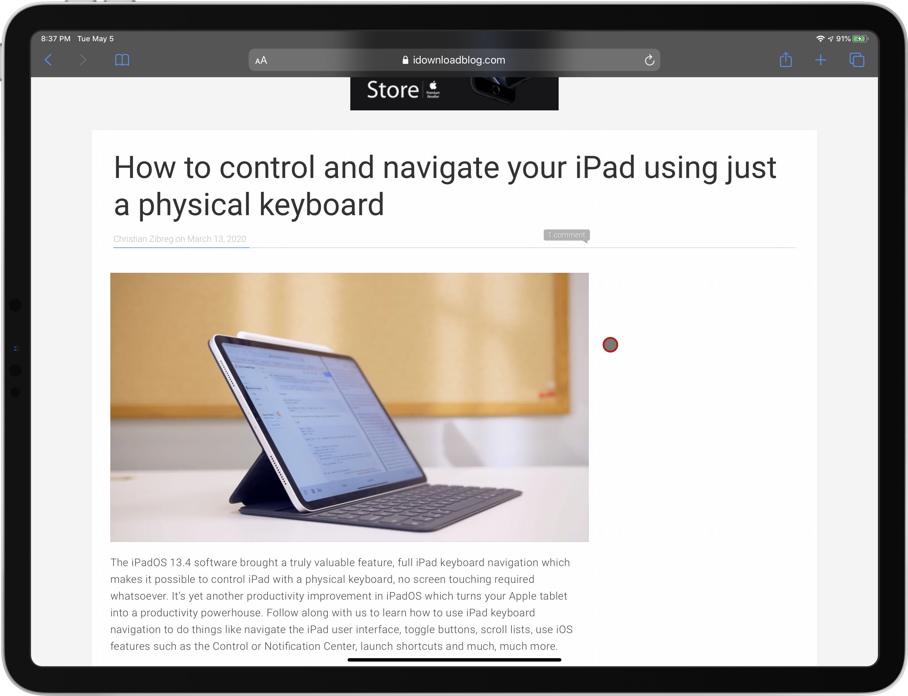 Control iPad pointer with the keyboard - onscreen pointer