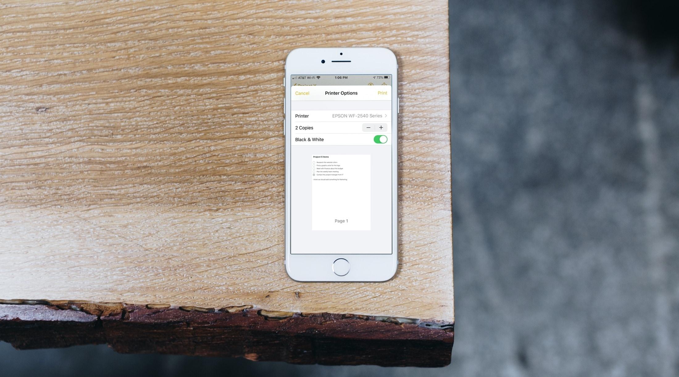 iPhone print screen desk