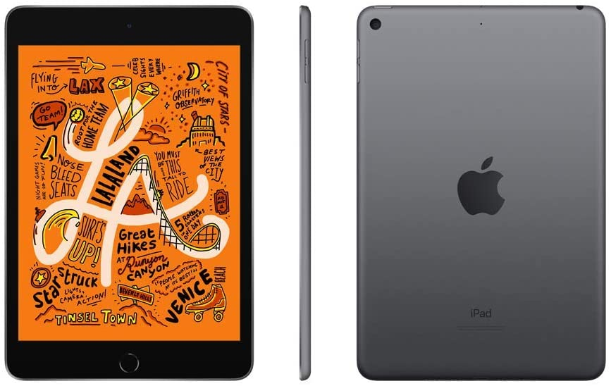 iPad mini 5, left to right: front, profile and back