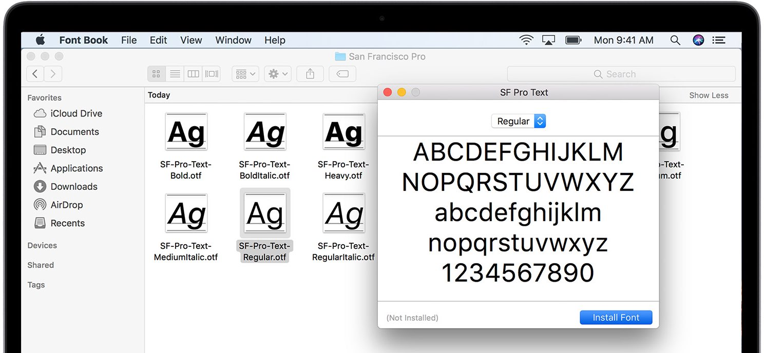 macOS Catalina fonts preinstalled document downloadable fonts