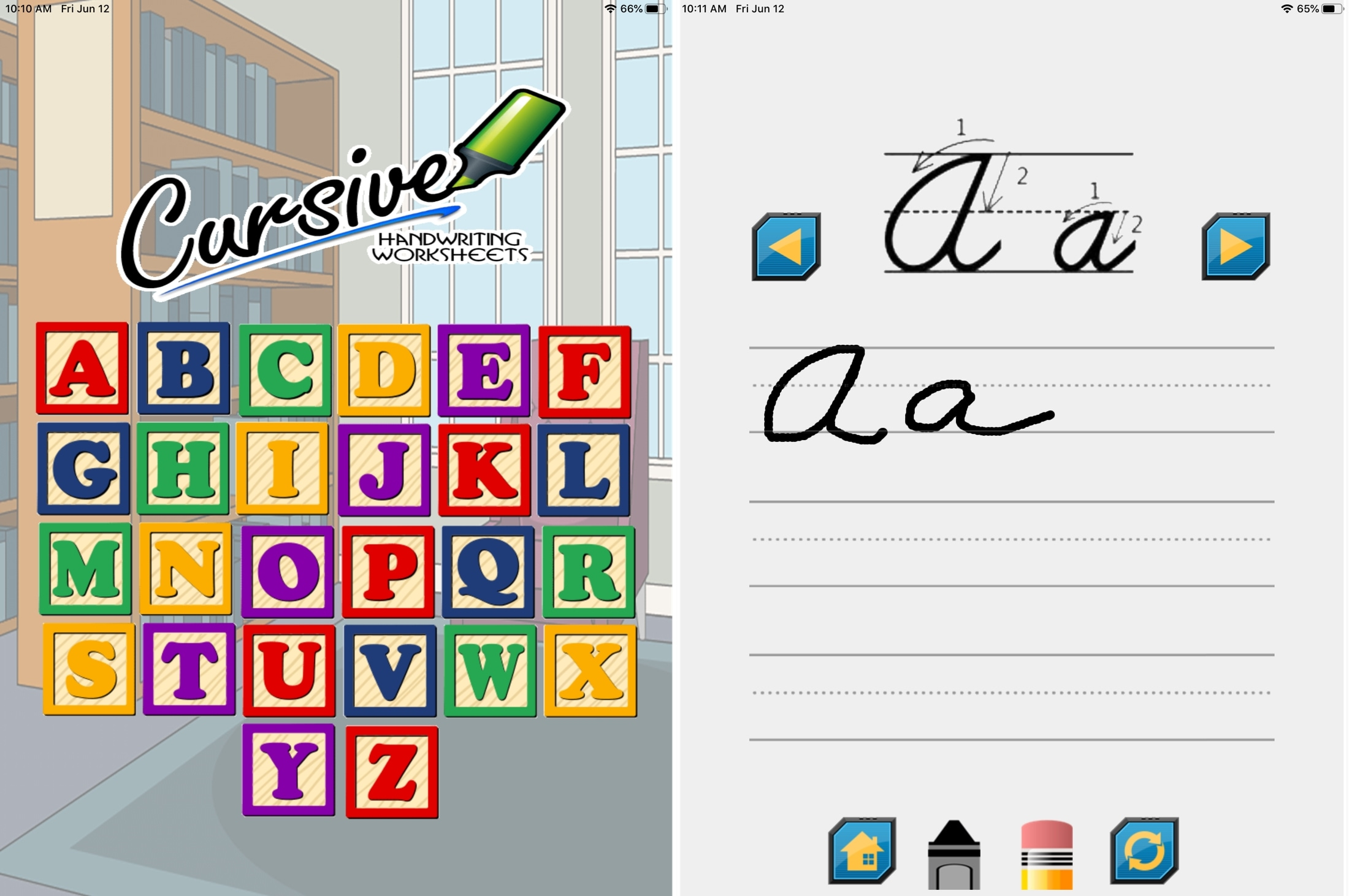 A to Z Cursive Writing Worksheets iPad