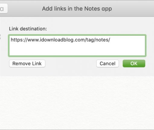 Add Link to Text in Notes Mac