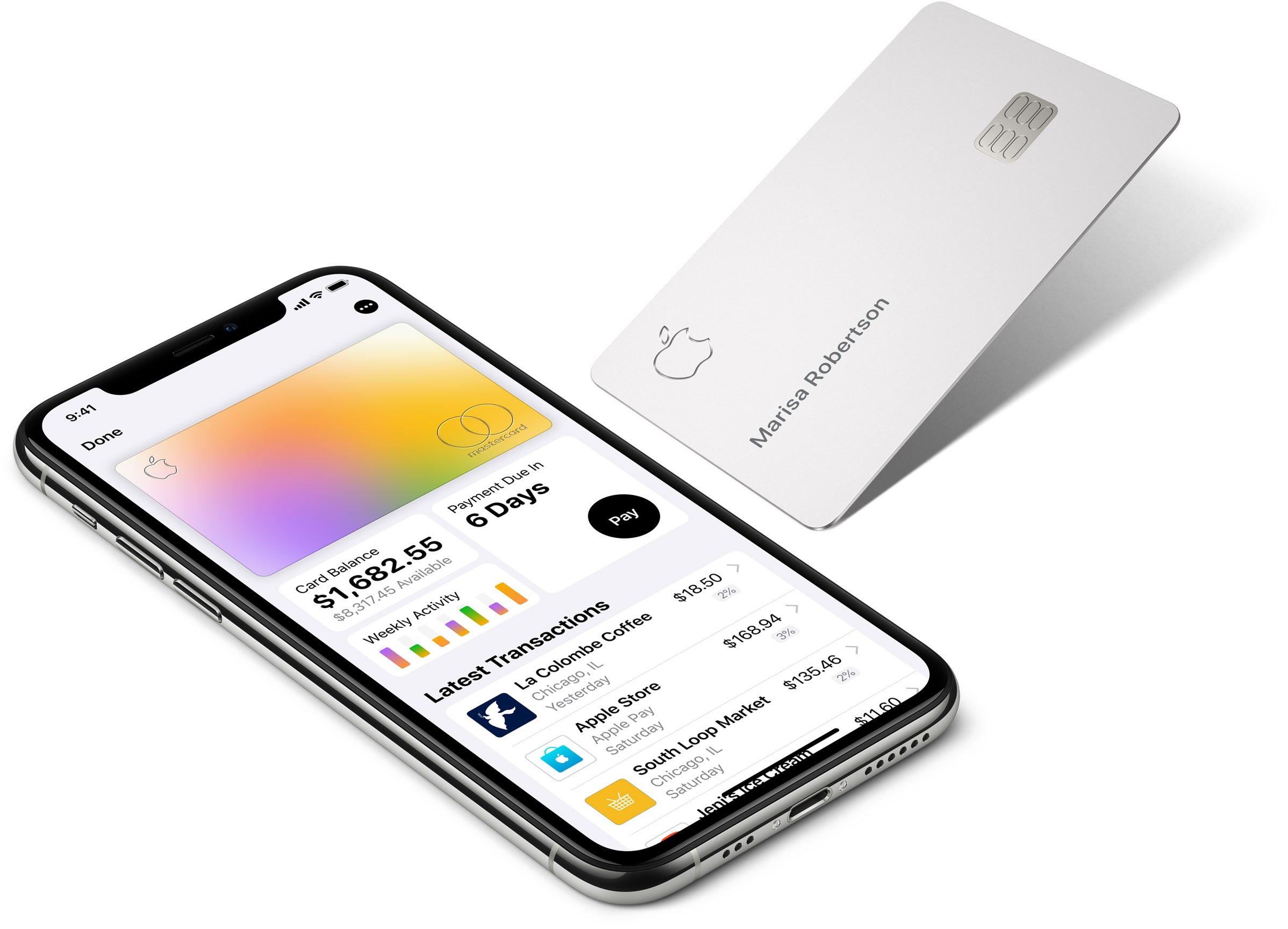 An Apple Card shown next to an iPhone running the Wallet app